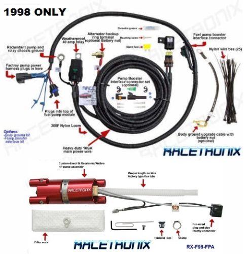 hr wiring harness racetronix 255l hr fuel pump kit w harness 1998 camaro firebird  racetronix 255l hr fuel pump kit w
